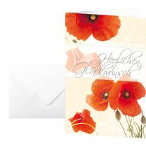 sigel Glückwunsch-Karten Mohnblumen (inkl.w.Umschläge) DS003 115x170mm 10+10