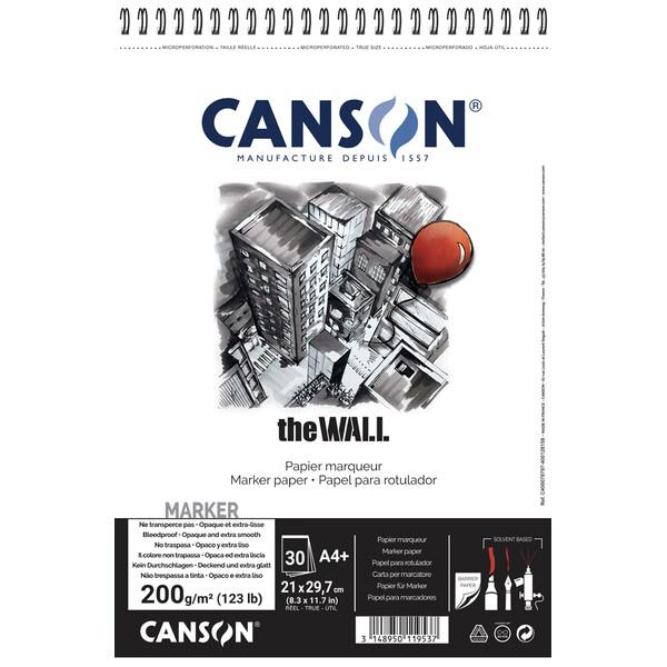 "CANSON Zeichenpapier-Spiralblock /""The WALL/"" A4 220 g//qm weiß 30 Blatt"