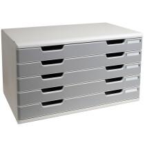 EXACOMPTA Schubladenbox MODULO A3, 5 Schübe, steingrau