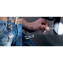 DURABLE Ausweishalter mit Jojo und LED, oval, schwarz
