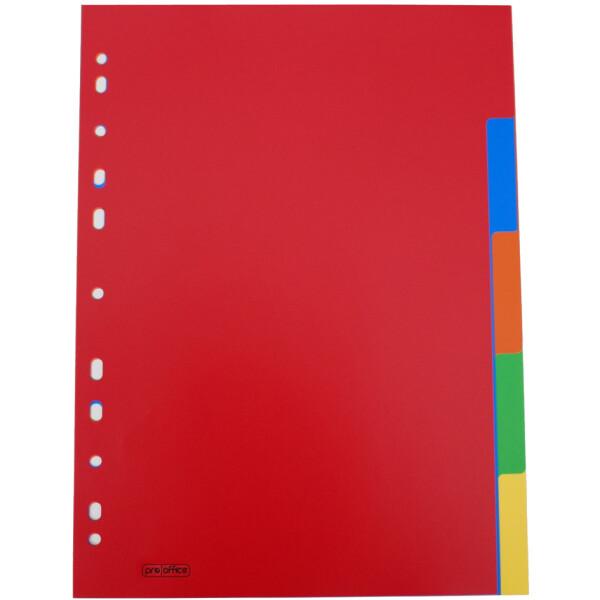 A4 proOFFICE Kunststoff-Register 5-teilig blanko