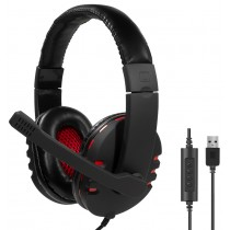 LogiLink USB-Headset High Quality, mit Mikrofon, schwarz rot