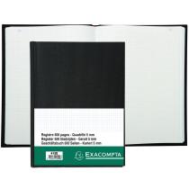 EXACOMPTA Geschäftsbuch 415E, schwarz, kariert, 110g qm, DIN A4, Inh. 250